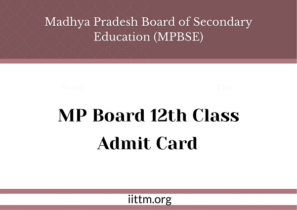 MP Board 12th Class Admit Card