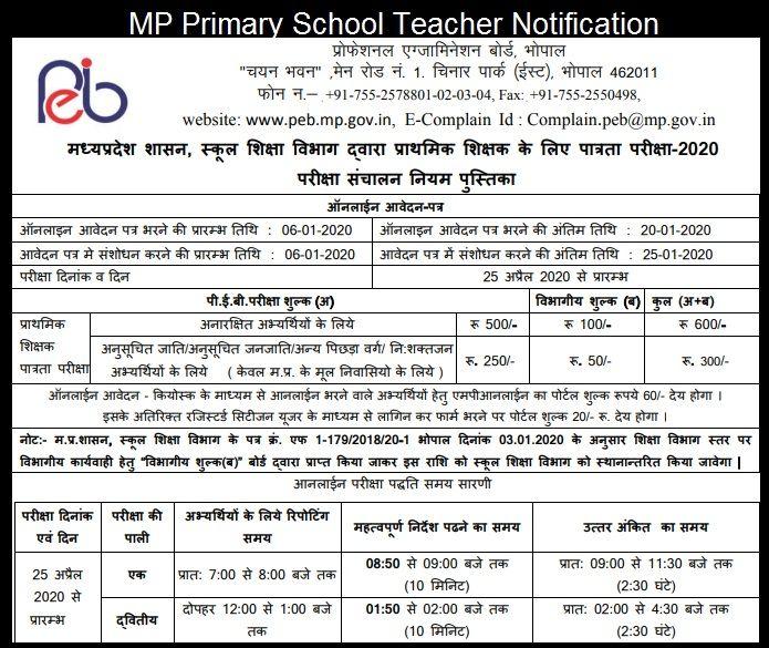 MP Primary School Teacher Notification 2020