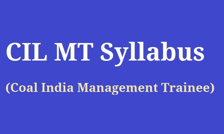 Coal India Management Trainee Syllabus