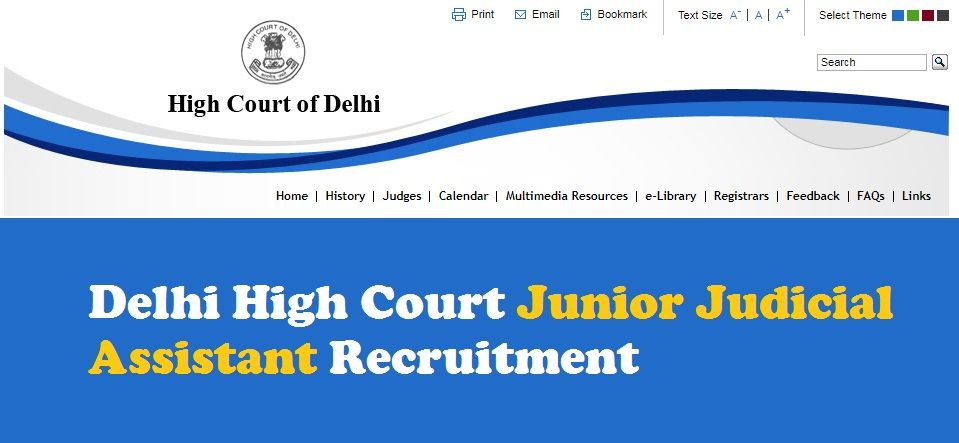 Delhi High Court Recruitment - Junior Judicial Assistant
