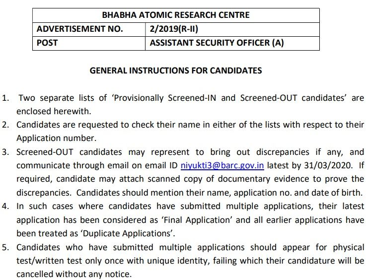 BARC Assistant Security Officer Result