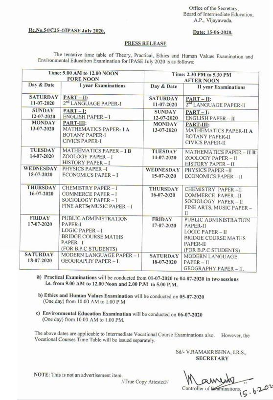 AP Inter Supplementary Exam Time Table 2020 IPASE