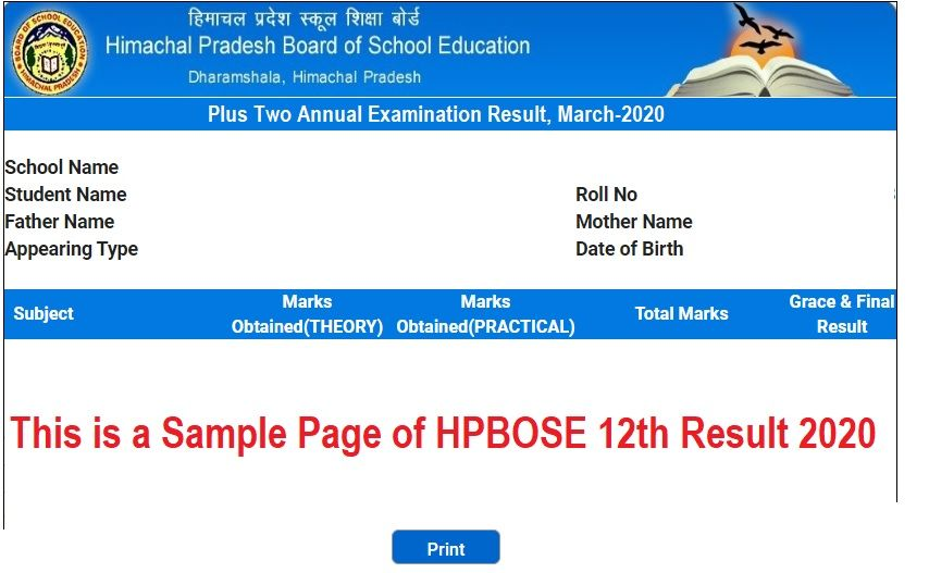 HPBOSE 12th Result 2020- Sample page