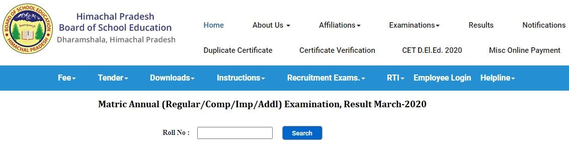www.hpbose.org Result 2020 10th Class