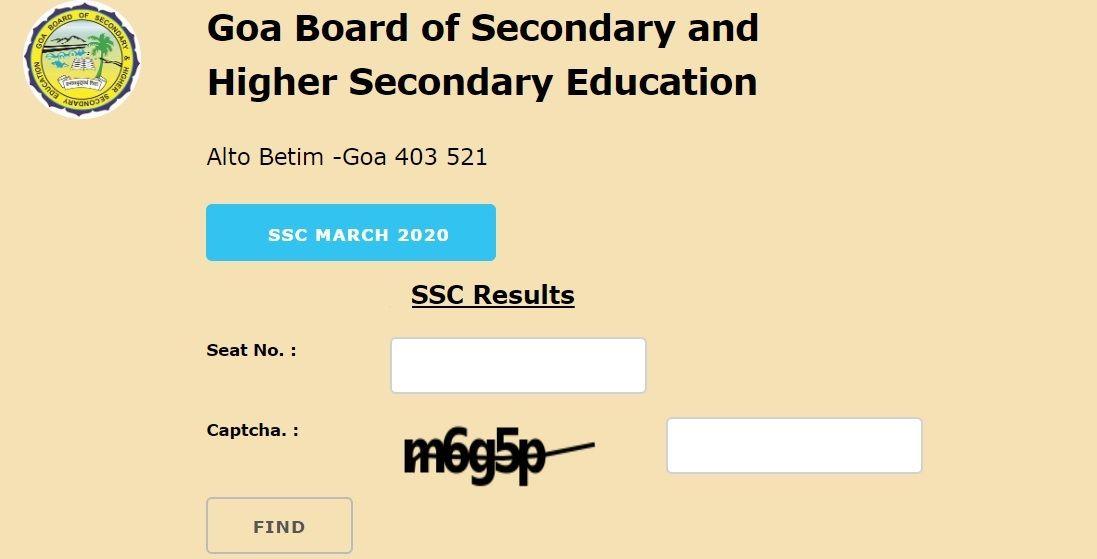 Goa Board SSC Results 2020