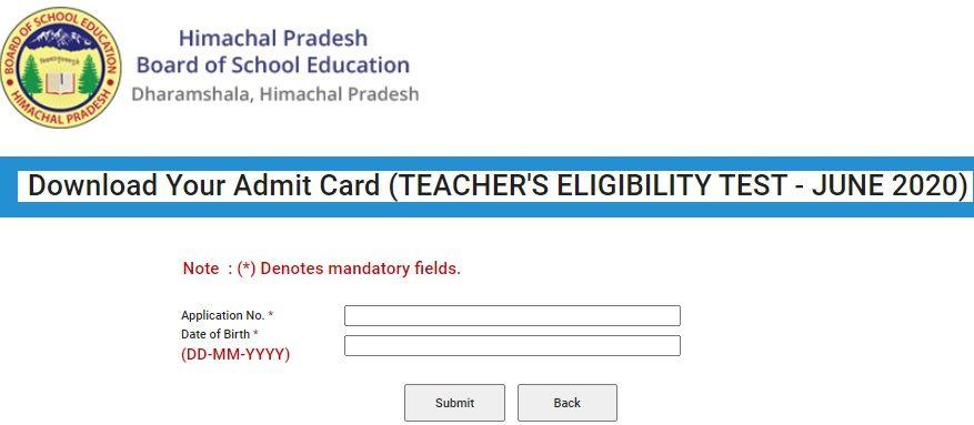 HP TET Admit Card 2020