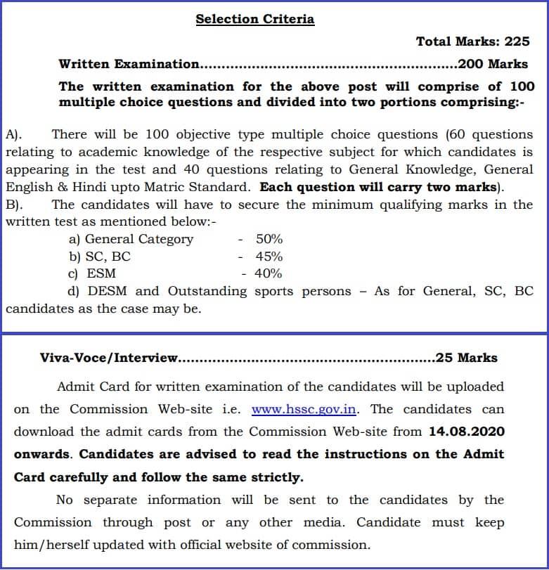 HSSC PTI Exam Pattern 2020