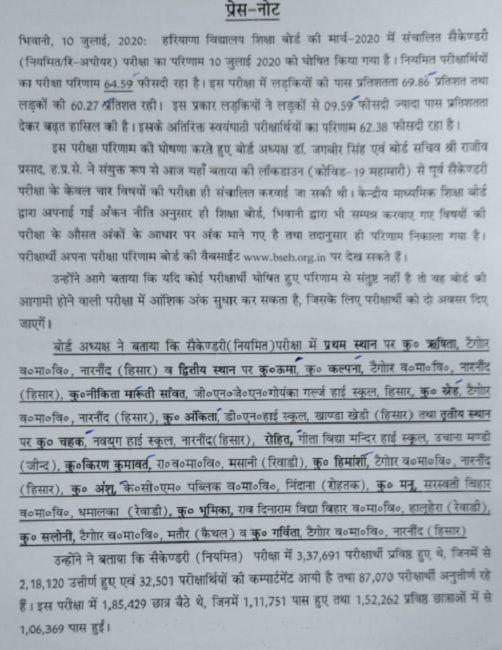 Haryana Board 10th Result 2020 Press Report