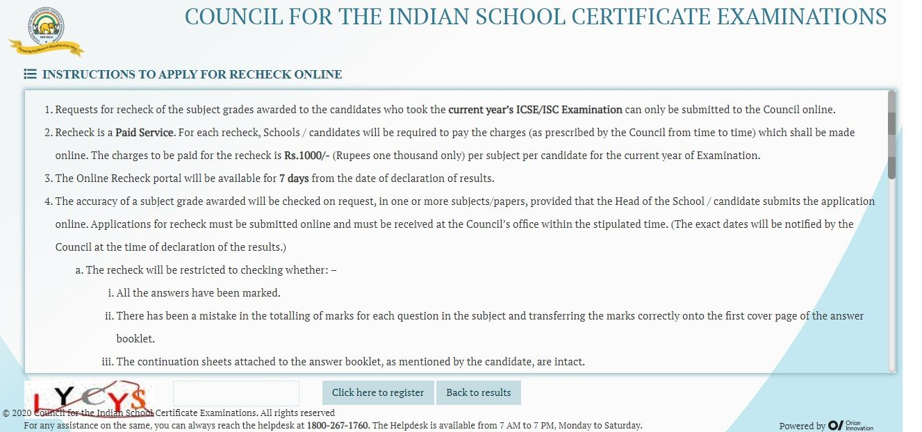 ICSE ISC Apply Online For Recheck 2020