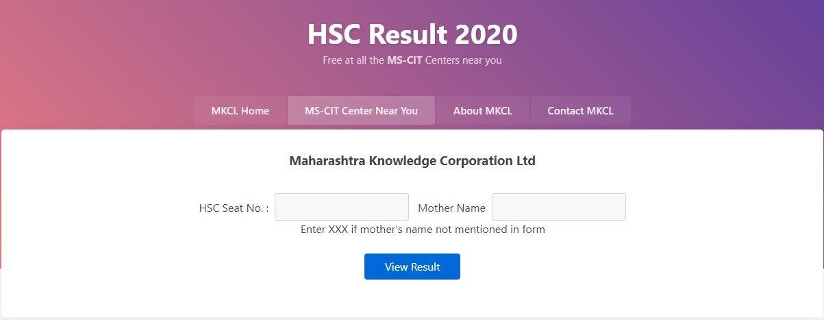 MKCL org HSC Result 2020