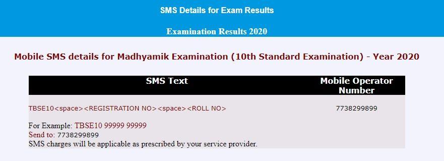 TBSE Madhyamik Examination 10th Standard Result SMS