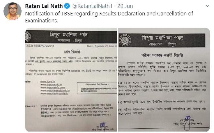 TBSE Madhyamik Result Declaration Tweet 2020