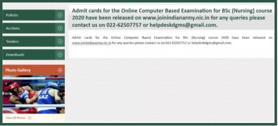 Indian Army MNS Admit Card Bsc Nursing 2020