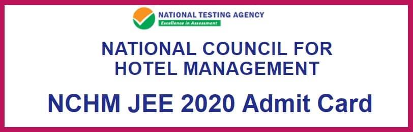 NCHM JEE Admit Card 2020