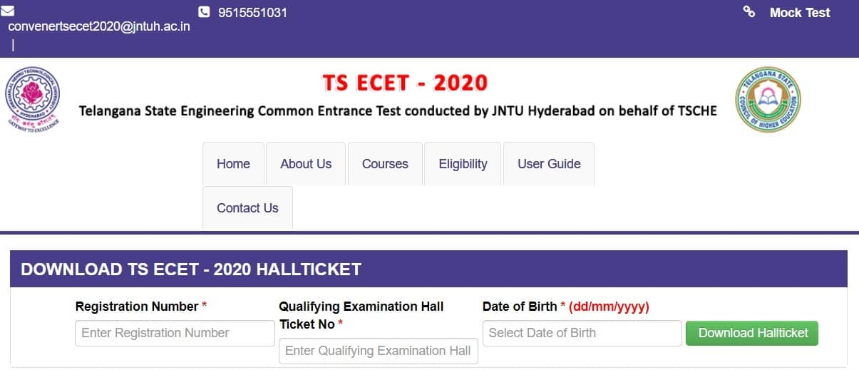TS ECET Hall Ticket Download 2020
