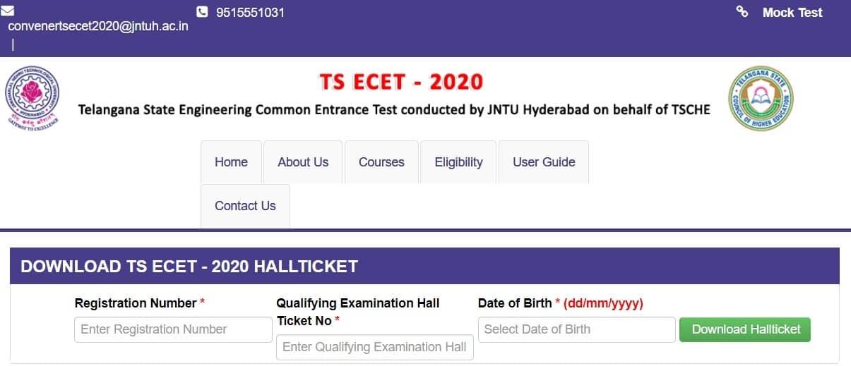 TS ECET Hall Ticket Download 2020