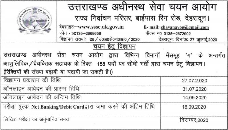 UKSSSC Stenographer Recruitment 2020