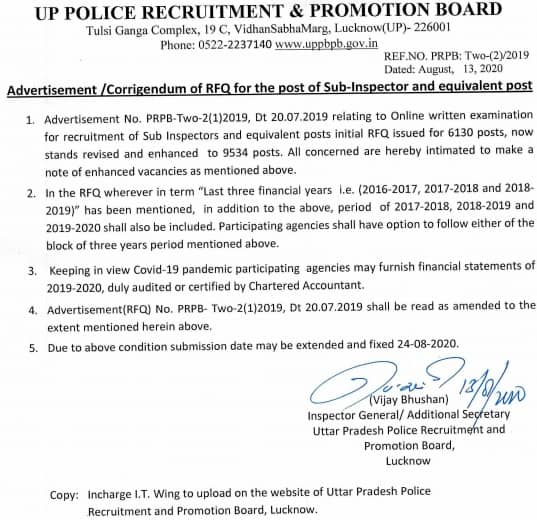 UP Police SI Recruitment 2020 Notification