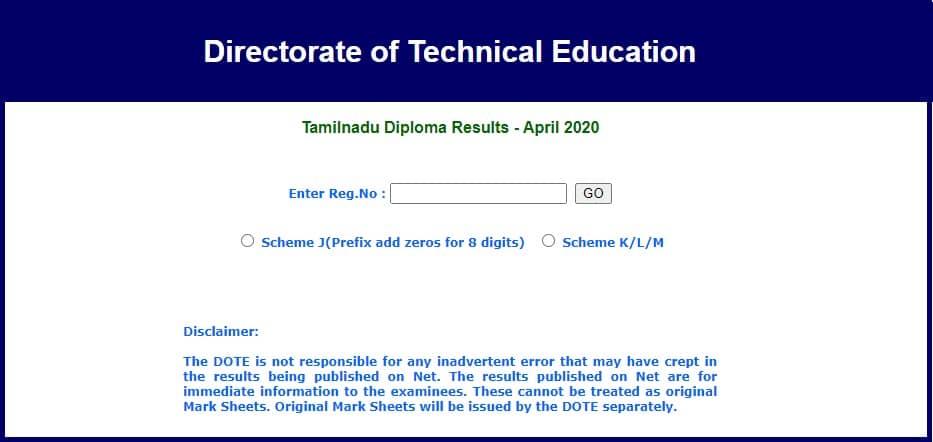 www.tndte.gov.in Diploma Result 2020