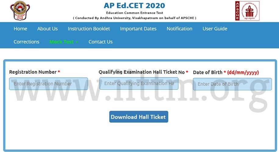 AP EDCET 2020 Hall Ticket sche.ap.gov.in