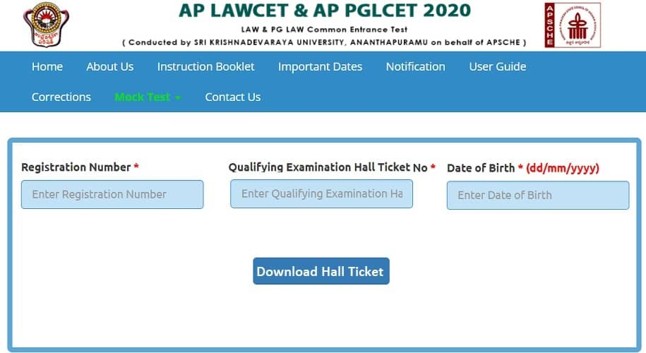 AP LAWCET Hall Ticket 2020 Download sche.ap.gov.in