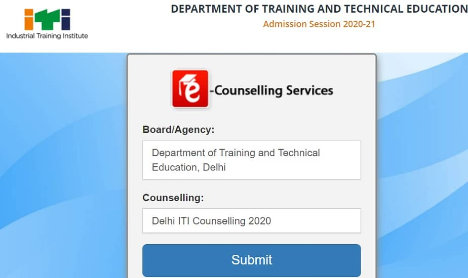 Delhi ITI Merit List 2020 itidelhiadmissions.nic.in counselling result