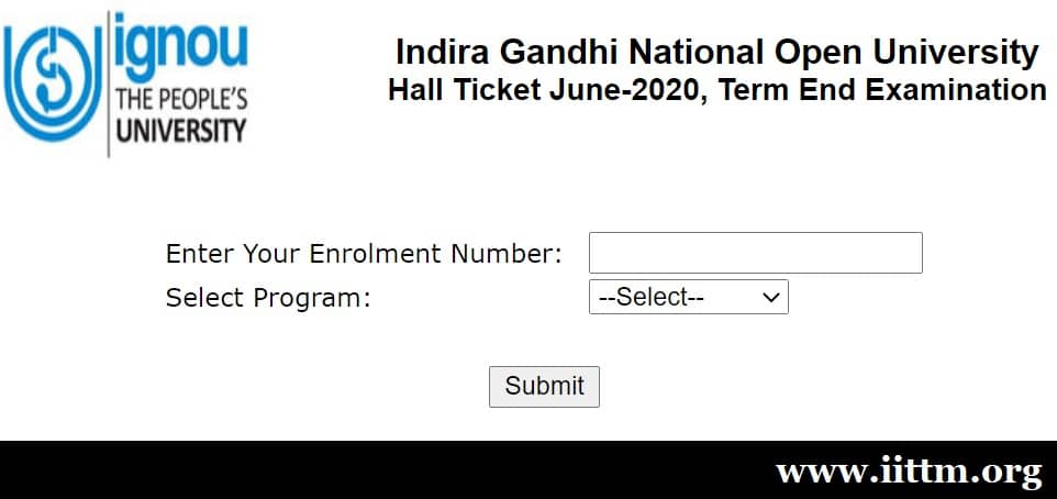 IGNOU TEE Hall Ticket June 2020 - iittm.org