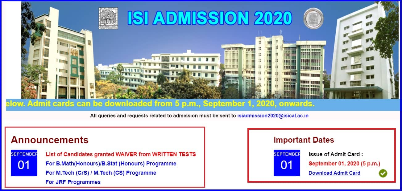 ISI Admit Card 2020 Download