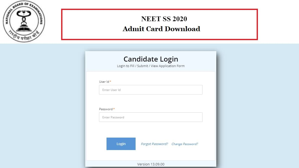 NEET SS 2020 Admit Card Download Now