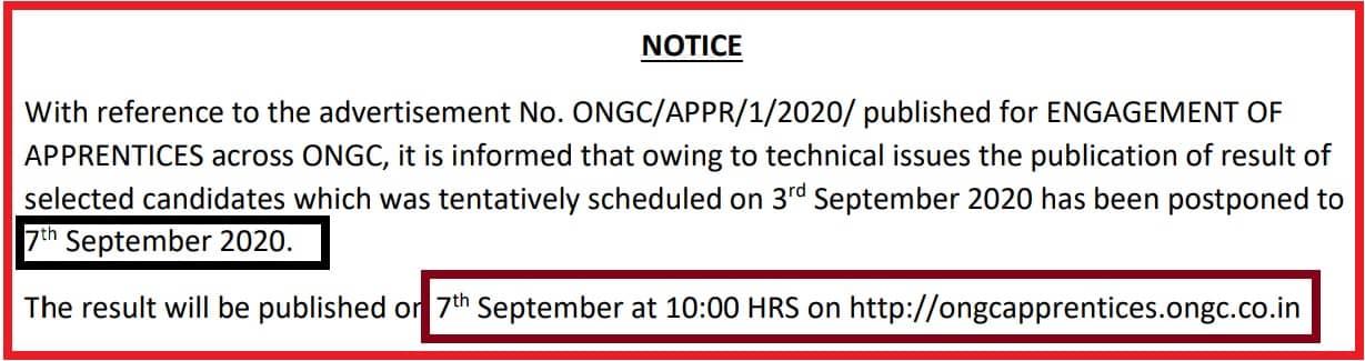 ONGC Result 2020 Apprentice Merit List 7th Sepember Official Notice
