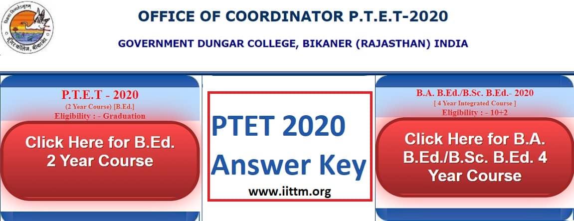 PTET Answer Key 2020 PDF Download www.iittm.org