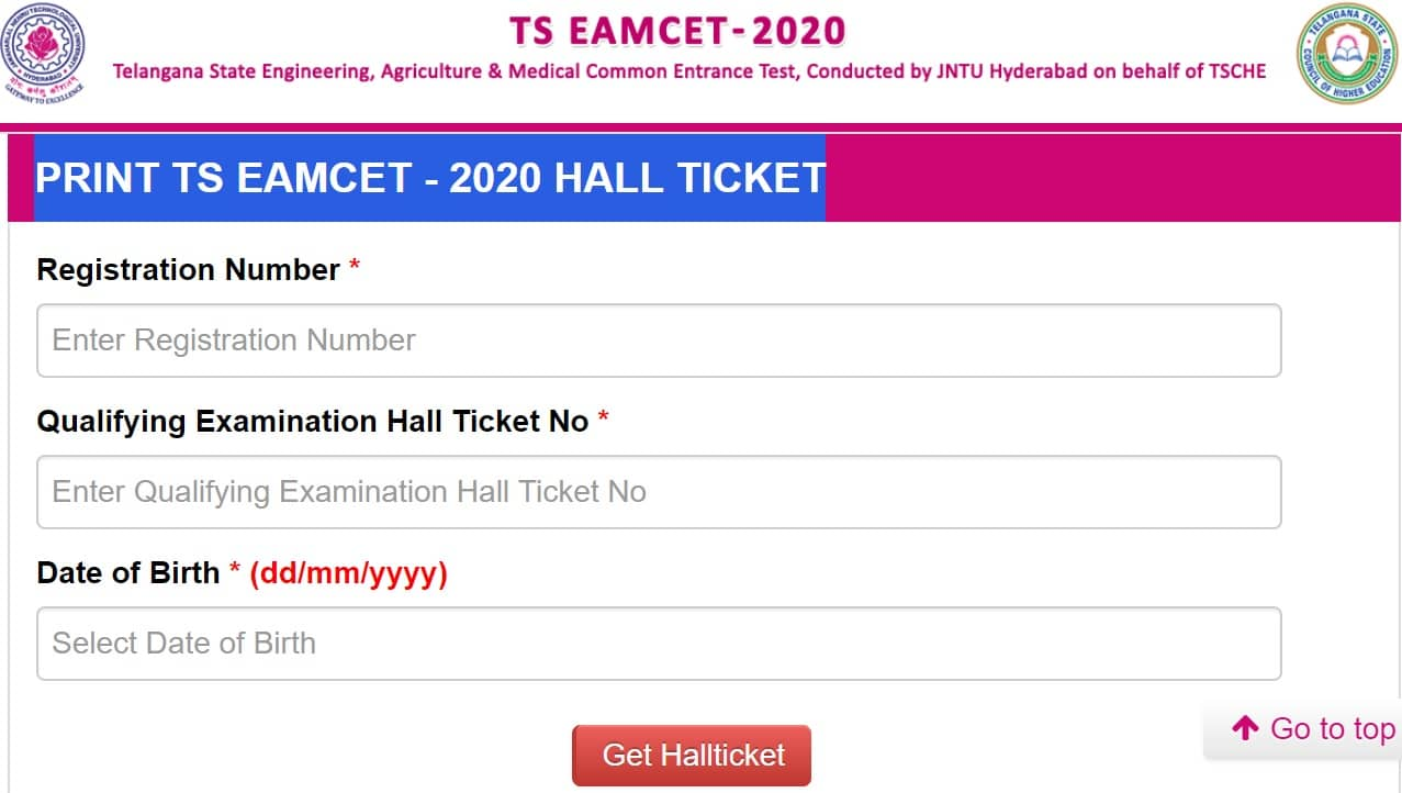 eamcet.tsche.ac.in Hall Ticket 2020 Download