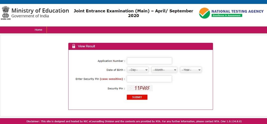 jeemain.nta.nic.in 2020 Resultntaresults.nic.in September Check Online
