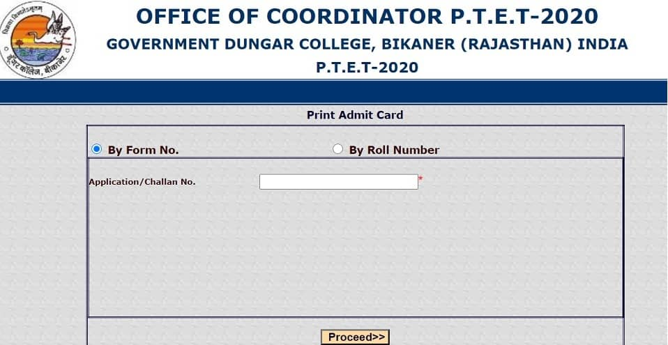 ptetdcb2020 Admit Card 2020