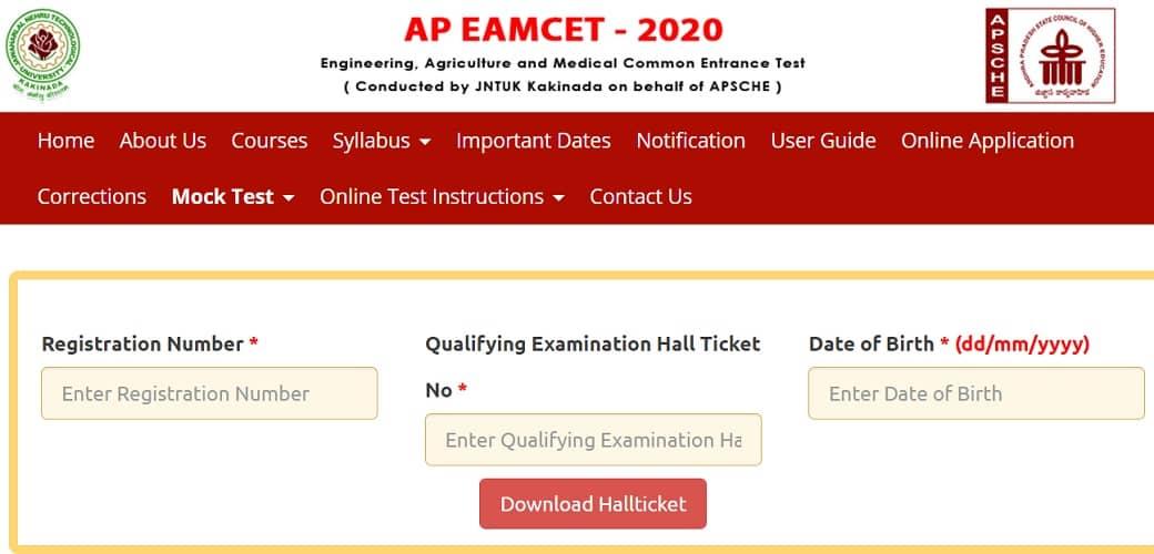 sche.ap.gov.in AP EAMCET Hall Ticket 2020