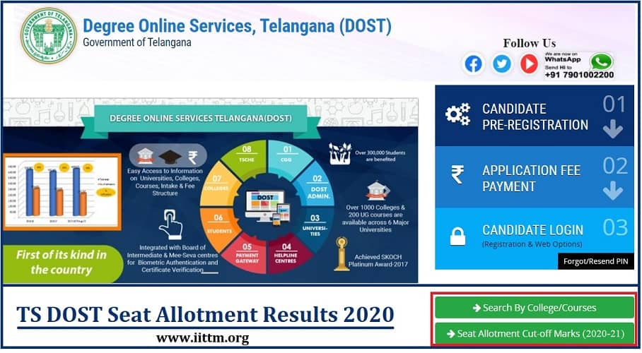ts dost.cgg.gov.in Seat Allotment 2020 Result Cut off list iittm.org