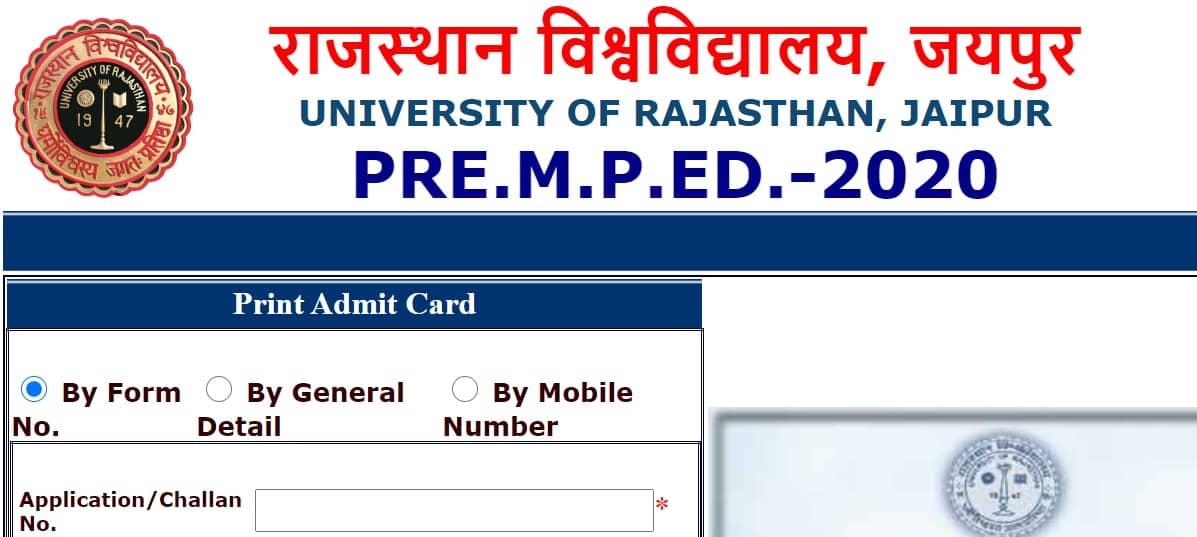 www.pmped2020.com Admit Card 2020 Uniraj M.P.Ed.