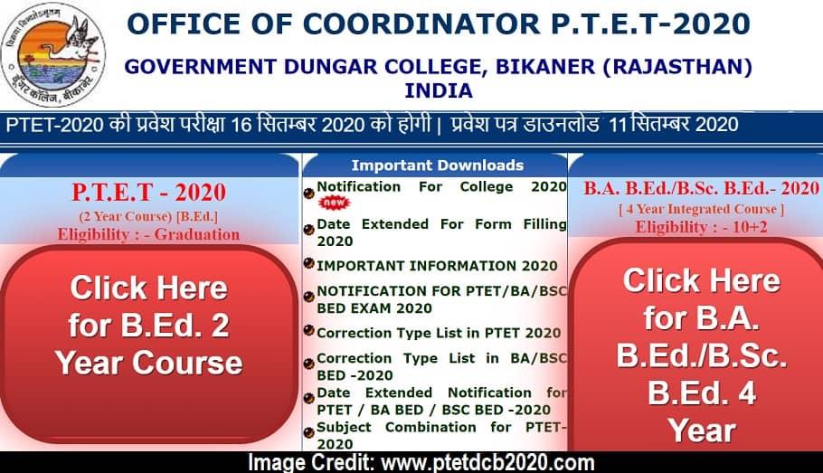 www.ptetdcb2020.com Admit Card 2020 Official Website