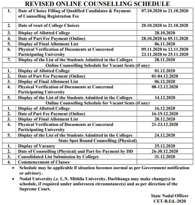 Bihar B.Ed Counselling Revised Schedule - College Allotment
