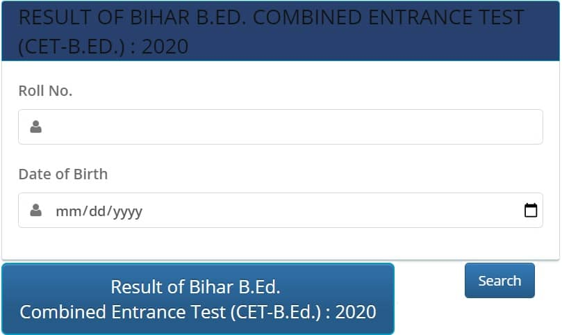 Bihar Bed cet Result 2020 login link