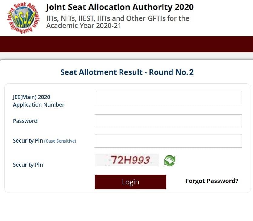 Josaa Round 2 Seat Allotment Result