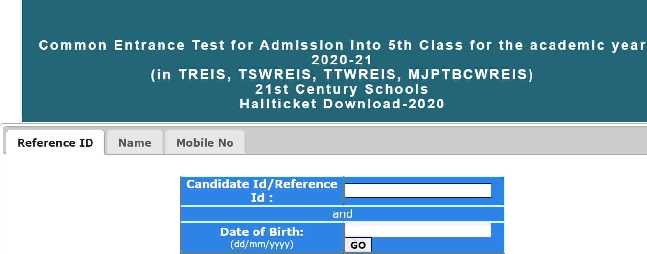 TGCET 5th Class Hall Ticket 2020