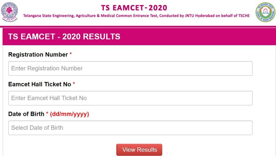 TS EAMCET Results 2020 eamcet.tsche.ac.in