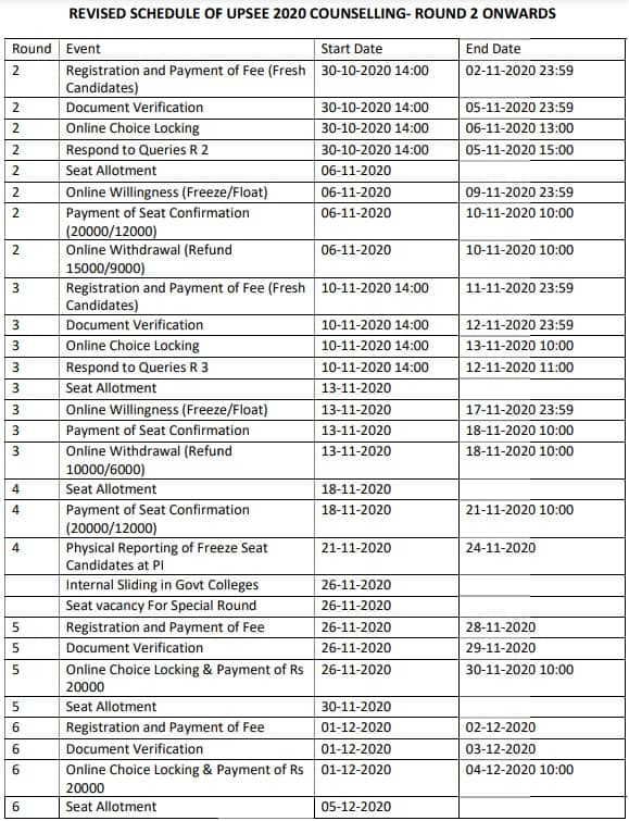 UPSEE Counselling 2020 Revised Schedule