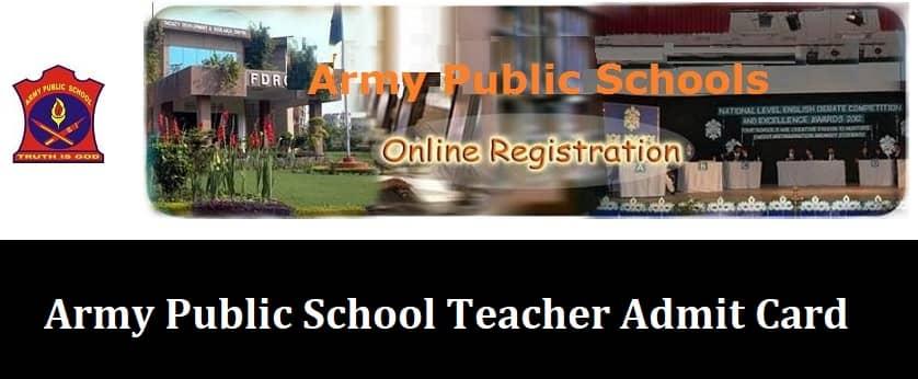 Army Public School Teacher Admit Card