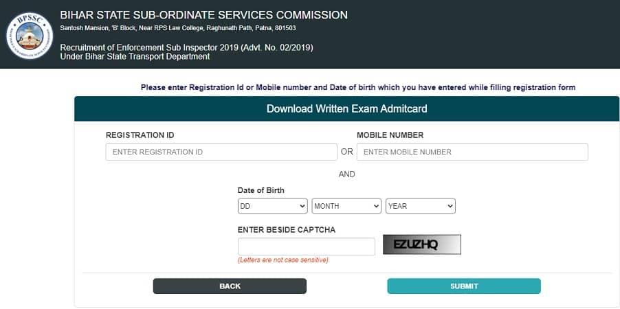 Bihar Police ESI Admit Card 2020