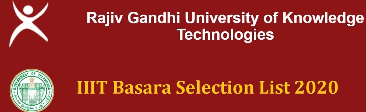 IIIT Basara Selection List 2020 2nd Phase