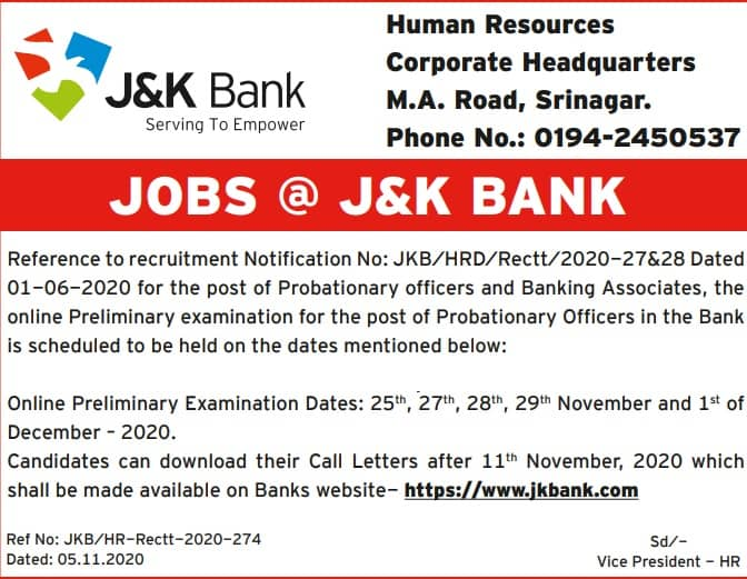 JK Bank PO Exam Date 2020 Admit Card Date
