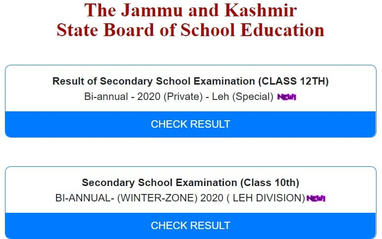 JKBOSE 10th 12th Leh Division Result 2020