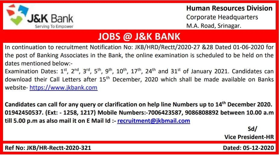 JK Bank BA Exam Date 2020 Notice